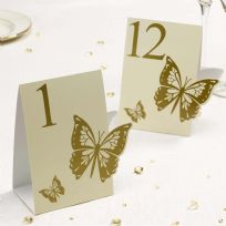 Elegant Butterfly Table Numbers - Ivory & Gold (12)